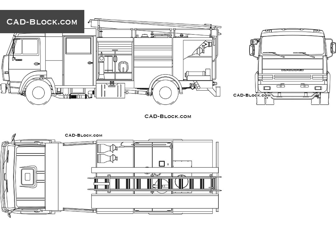 Fire Truck CAD block, 2D model in AutoCAD, vector file