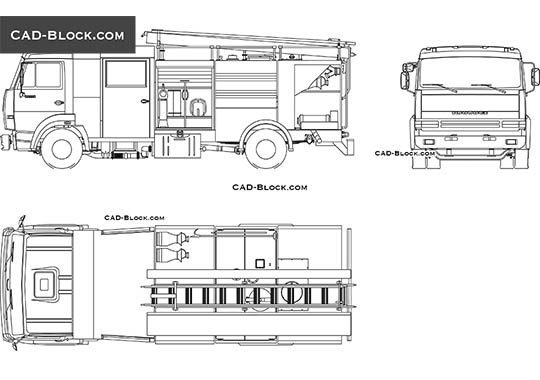 Fire Truck - download free CAD Block