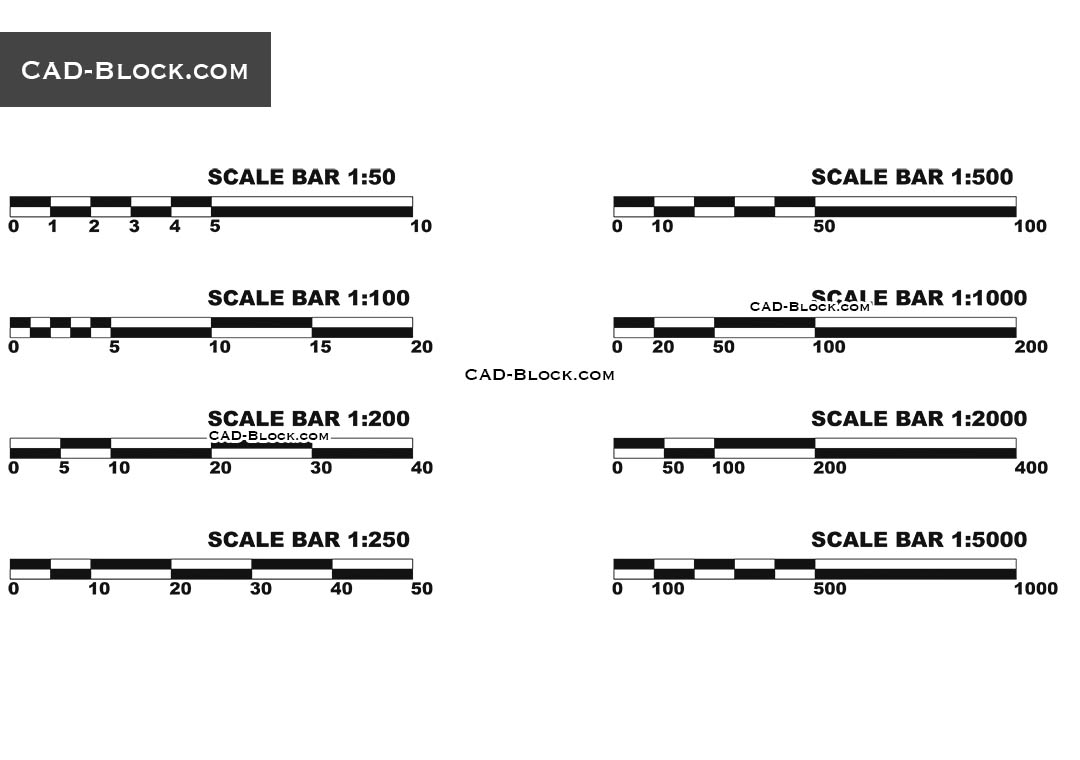 Scale Bar CAD block free download, AutoCAD drawing