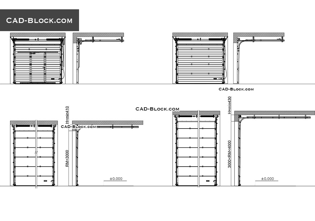 Overhead Door CAD Block, section, details, free 2D DWG models