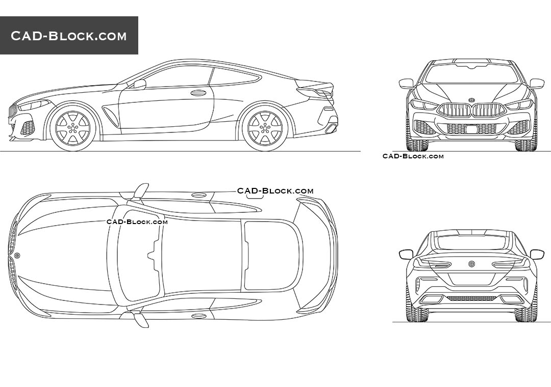 BMW M850i CAD blocks, vehicle in plan, front, side and rear views