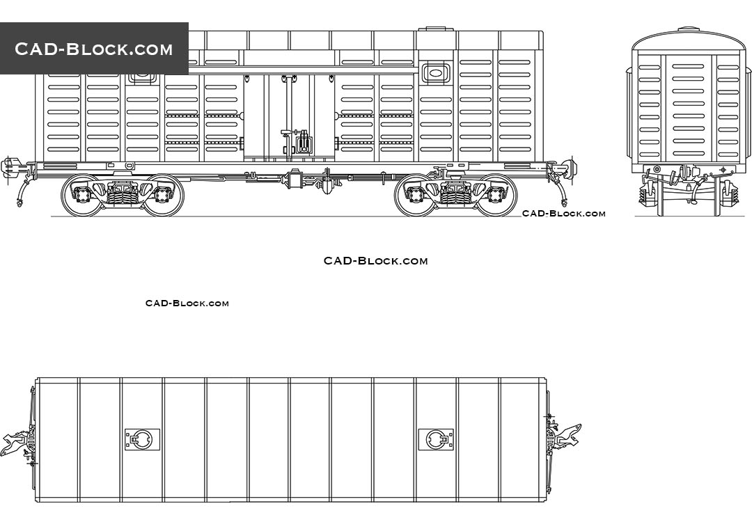 Cargo Wagon 2D model, free CAD drawing in AutoCAD