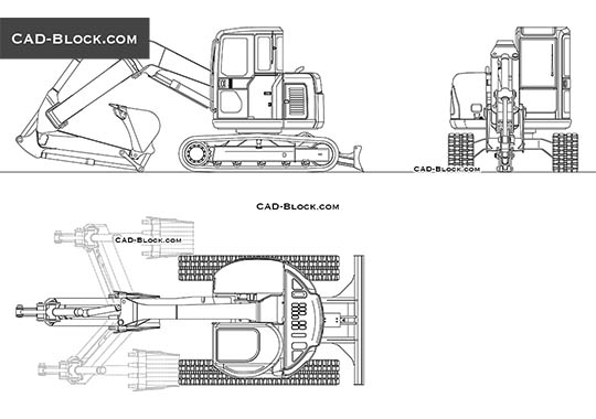 Kobelco SK75UR-3 - download free CAD Block