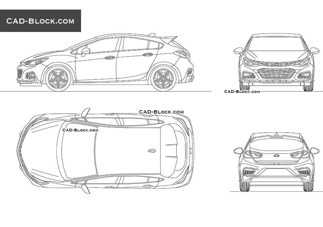 Chevrolet Cruze CAD drawings, 2D AutoCAD model