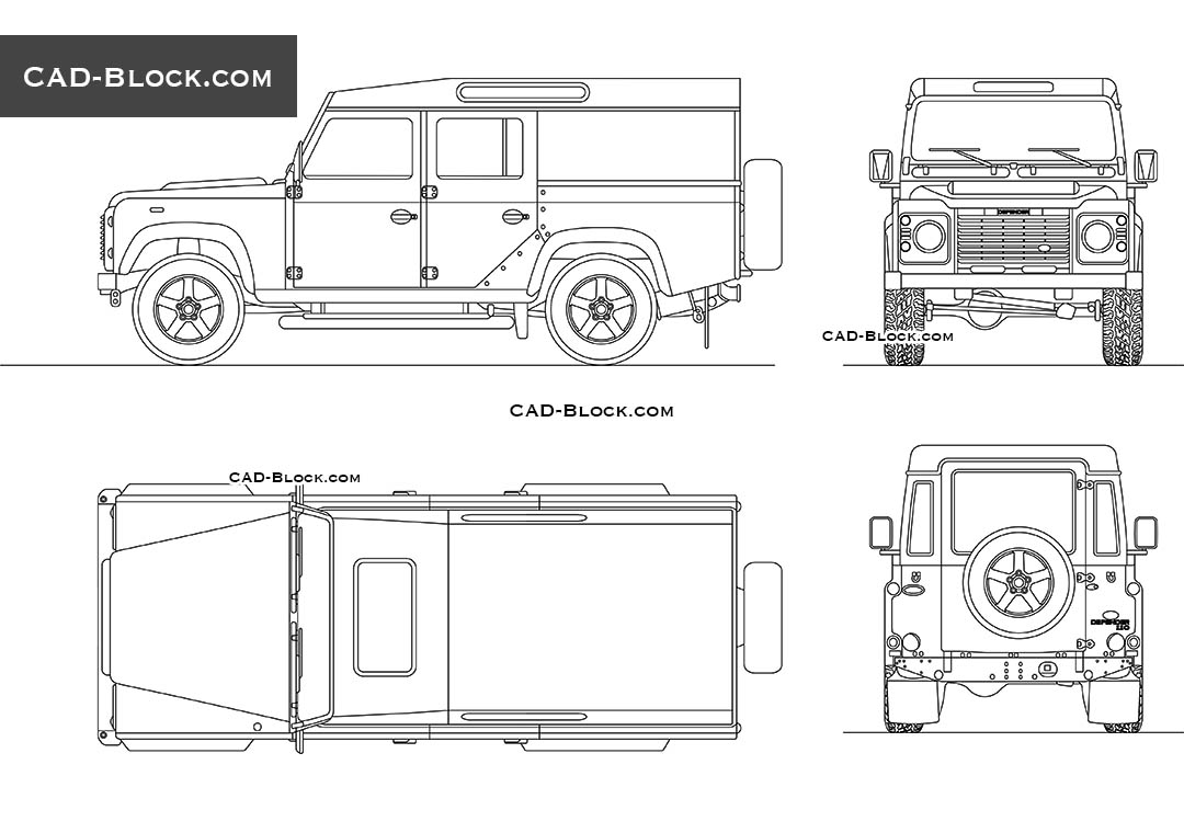 Land Rover Defender car CAD block, AutoCAD 2D model