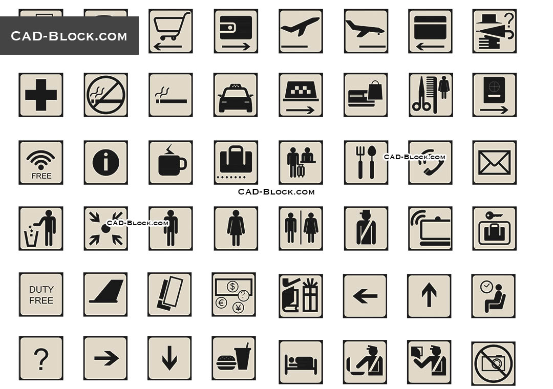 Icons for Navigation in Airport - CAD Blocks, AutoCAD file