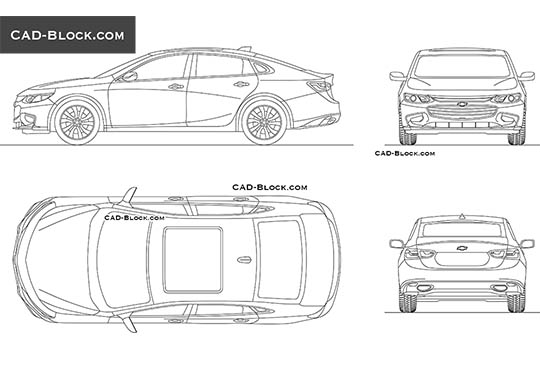 Chevrolet Malibu buy AutoCAD Blocks