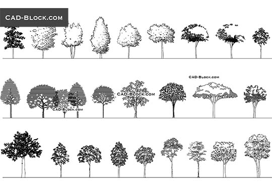 Trees and Plants free CAD Blocks, DWG files download
