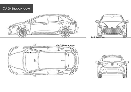 Toyota Corolla Hatchback - download free CAD Block