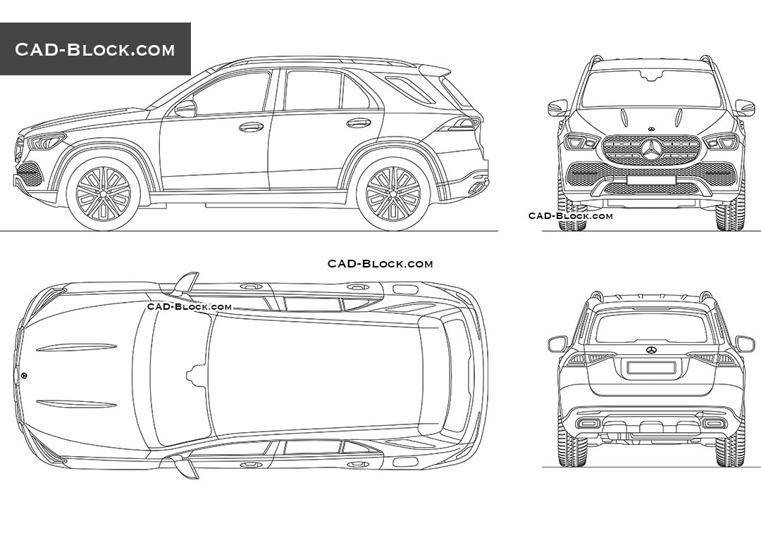 Mercedes-Benz GLE (2019) - CAD Blocks, AutoCAD file