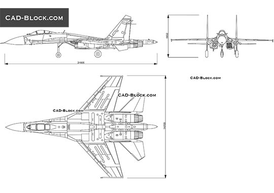 Fighter Jet Sukhoi Su-35 - free CAD file