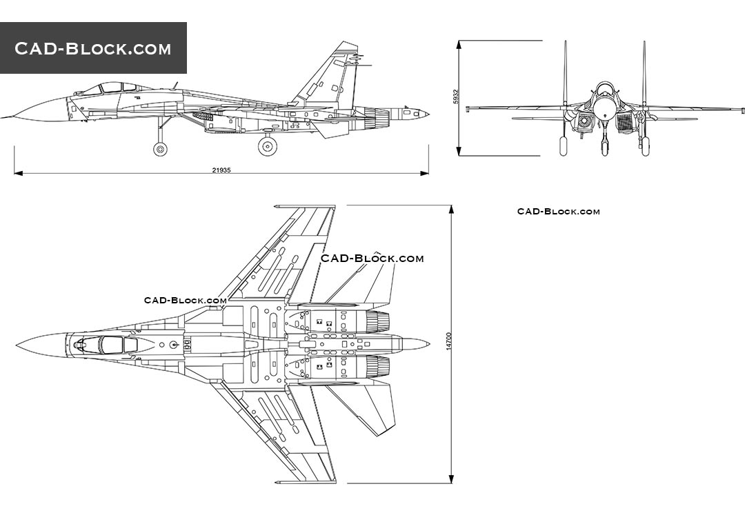 Fighter Jet Sukhoi Su-35 - CAD Blocks, AutoCAD file