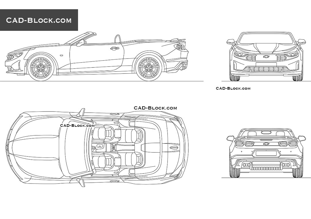 chevrolet camaro convertible cad block  2d model