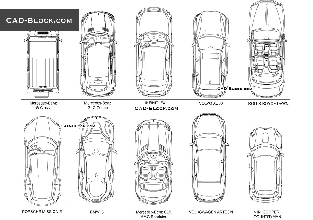 Cars Top View - CAD Blocks, AutoCAD file