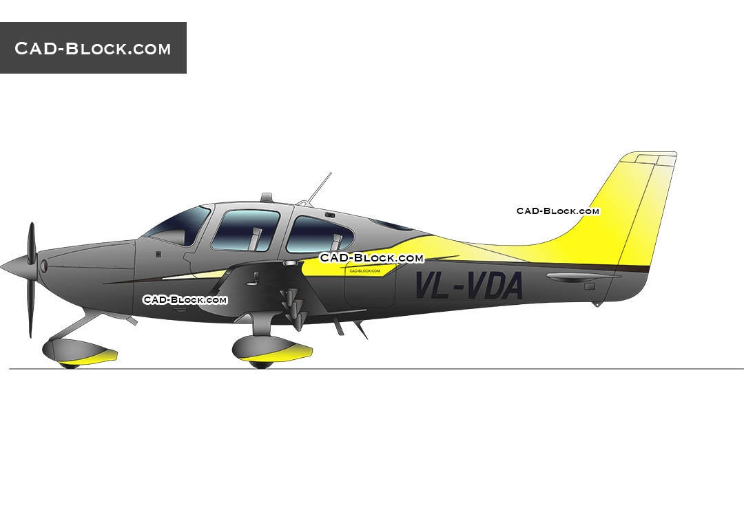 Cirrus Aircraft SR22 CAD block, download free AutoCAD model