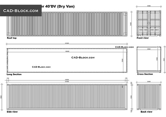 40' Dry Van Container - free CAD file