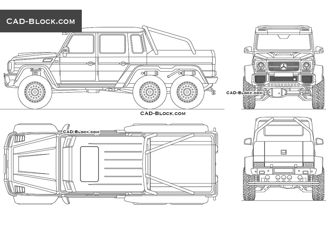 Mercedes-Benz G 63 AMG 6x6 - CAD Blocks, AutoCAD file