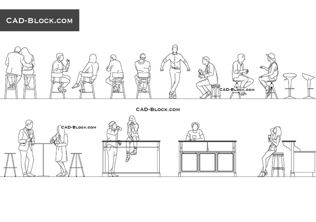 People in a Bar - CAD Blocks, AutoCAD file