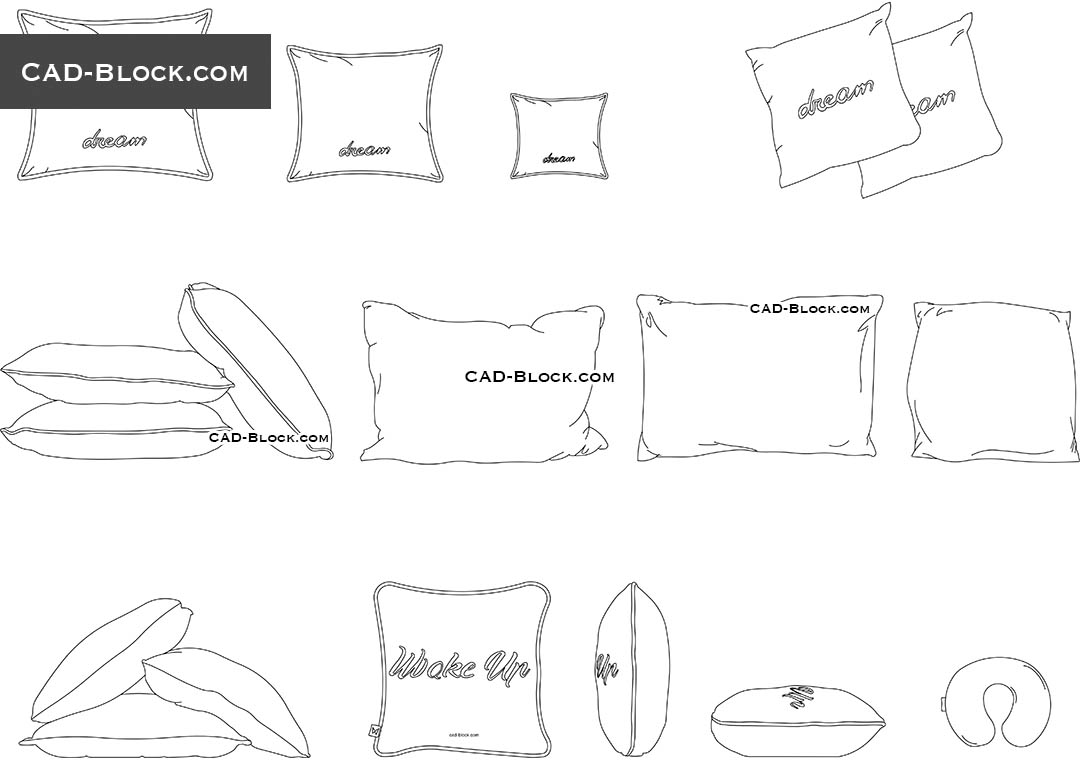Pillows - CAD Blocks, AutoCAD file