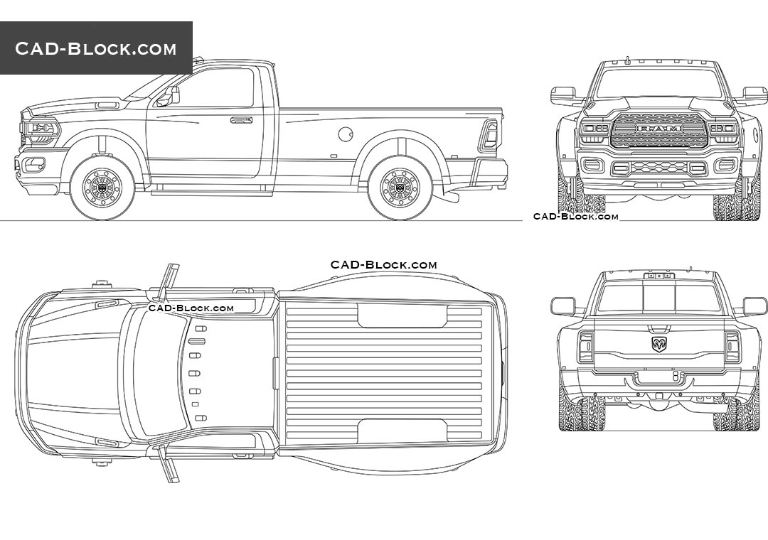 Dodge RAM 3500 Single Cab - CAD Blocks, AutoCAD file