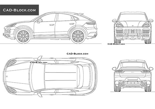 Porsche Cayenne Coupe buy AutoCAD Blocks