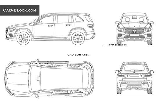 Mercedes-Benz GLB (2019) buy AutoCAD Blocks