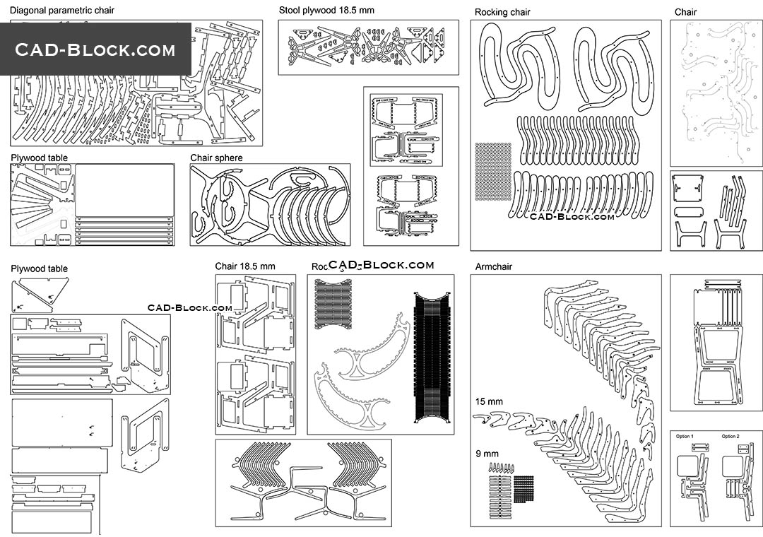 Parametric Furniture - CAD Blocks, AutoCAD file