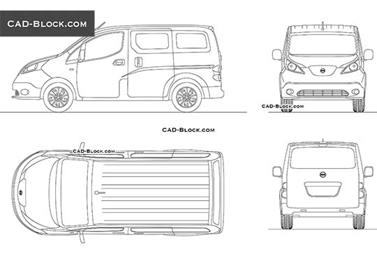 Nissan e-NV200 - download free CAD Block
