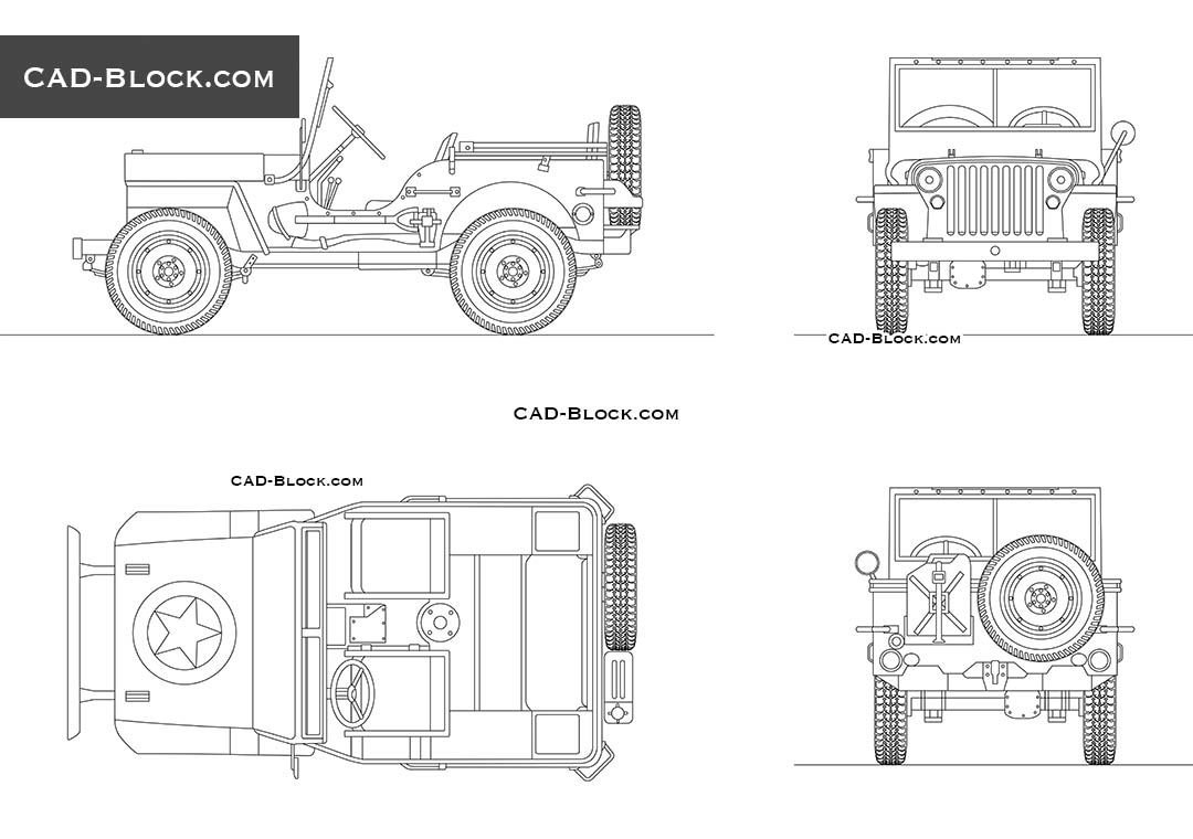 Jeep Willys - CAD Blocks, AutoCAD file