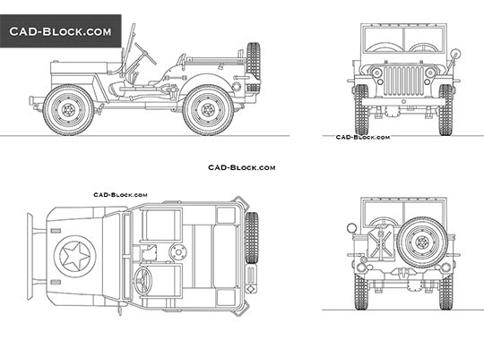 Jeep Willys buy AutoCAD Blocks