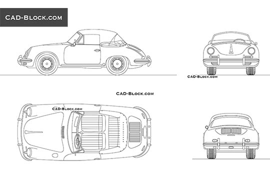 Porsche 356C (1964) buy AutoCAD Blocks