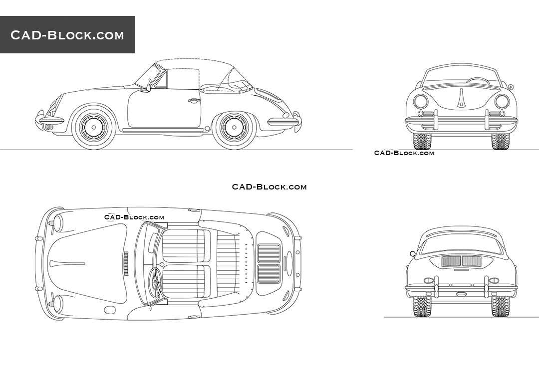 Porsche 356C (1964) - CAD Blocks, AutoCAD file