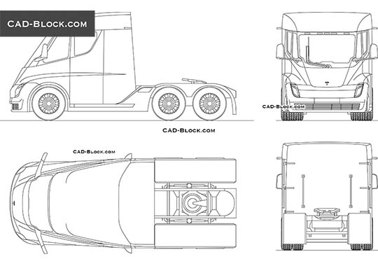 Tesla Semi - download free CAD Block