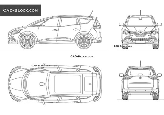 Renault Grand Scenic - download free CAD Block