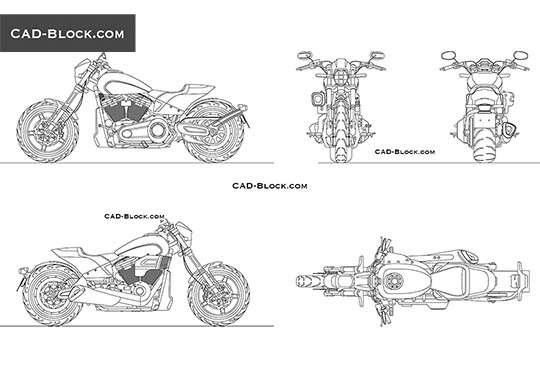 Harley-Davidson Softail FXDR buy AutoCAD Blocks