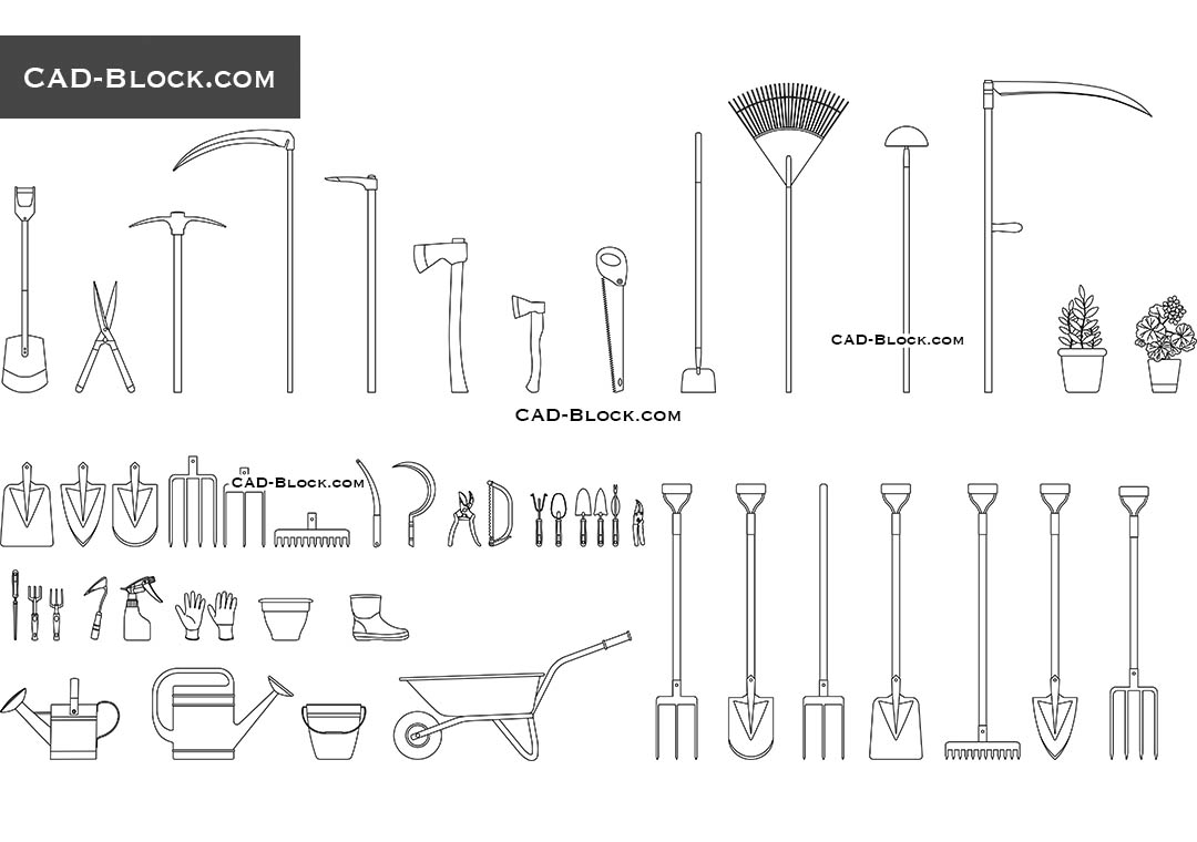 Garden Tools - CAD Blocks, AutoCAD file
