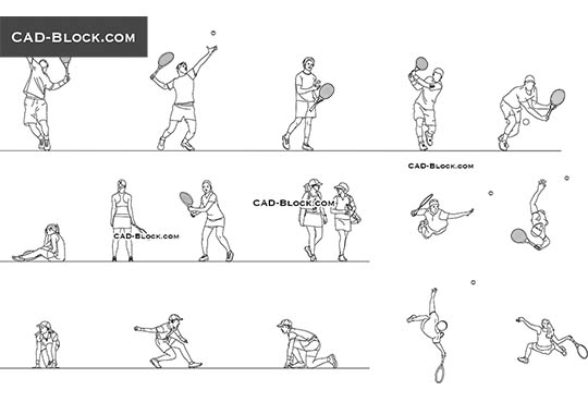 Tennis Players - download free CAD Block