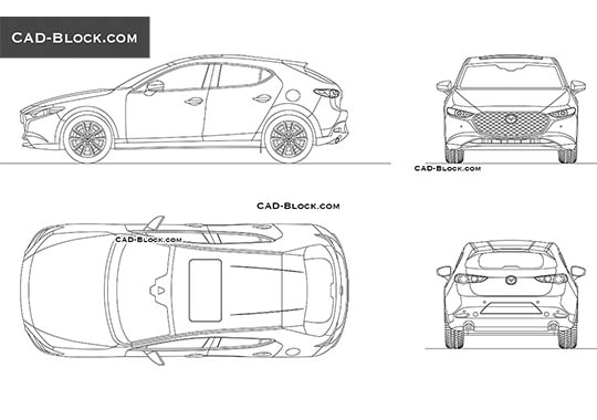Mazda 3 Hatchback (2019) - download free CAD Block