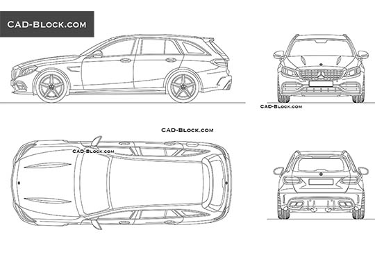 Mercedes-Benz AMG С63 Wagon - download free CAD Block