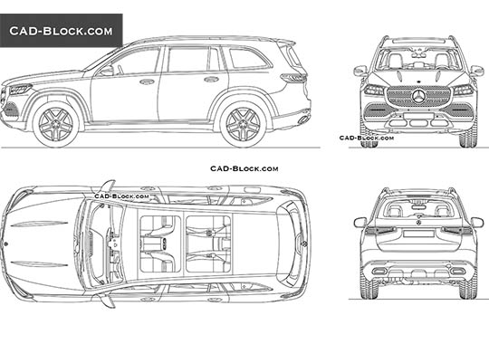 Mercedes-Benz GLS (2019) buy AutoCAD Blocks