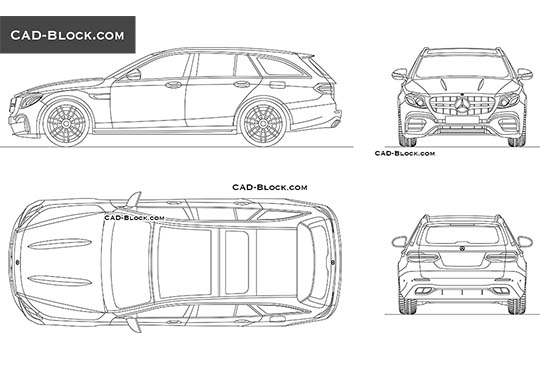 Mercedes-Benz E63 AMG Wagon - download free CAD Block