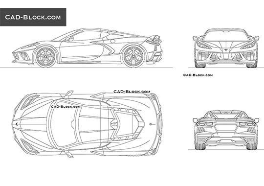 Chevrolet Corvette Stingray - download free CAD Block