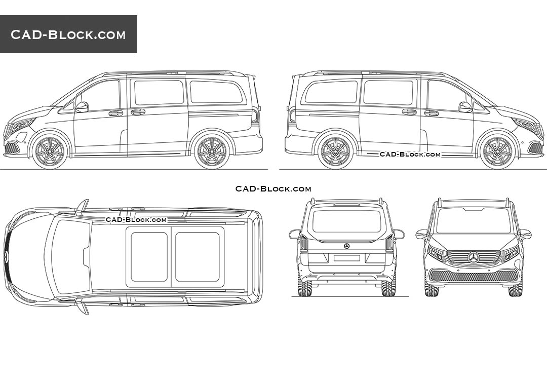 Mercedes-Benz EQV - CAD Blocks, AutoCAD file