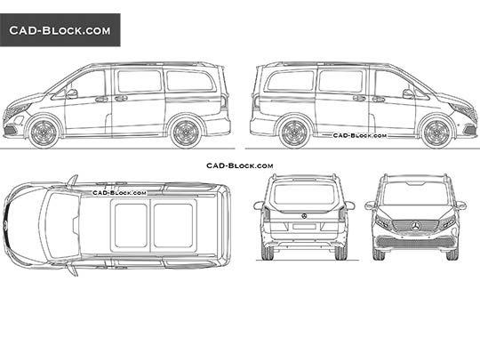 Mercedes-Benz EQV buy AutoCAD Blocks