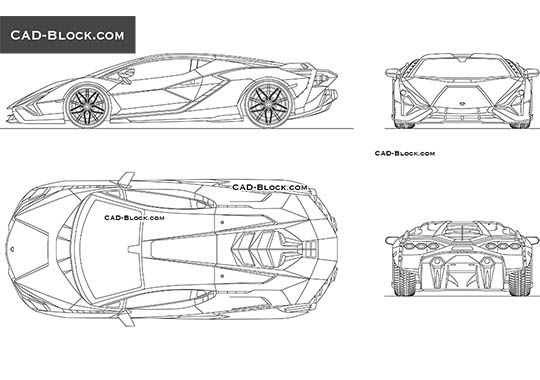 Lamborghini Sian - download free CAD Block
