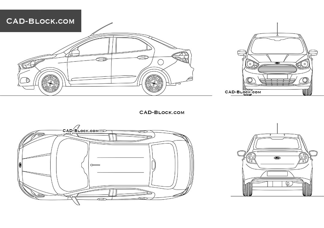 Ford Ka Sedan - CAD Blocks, AutoCAD file