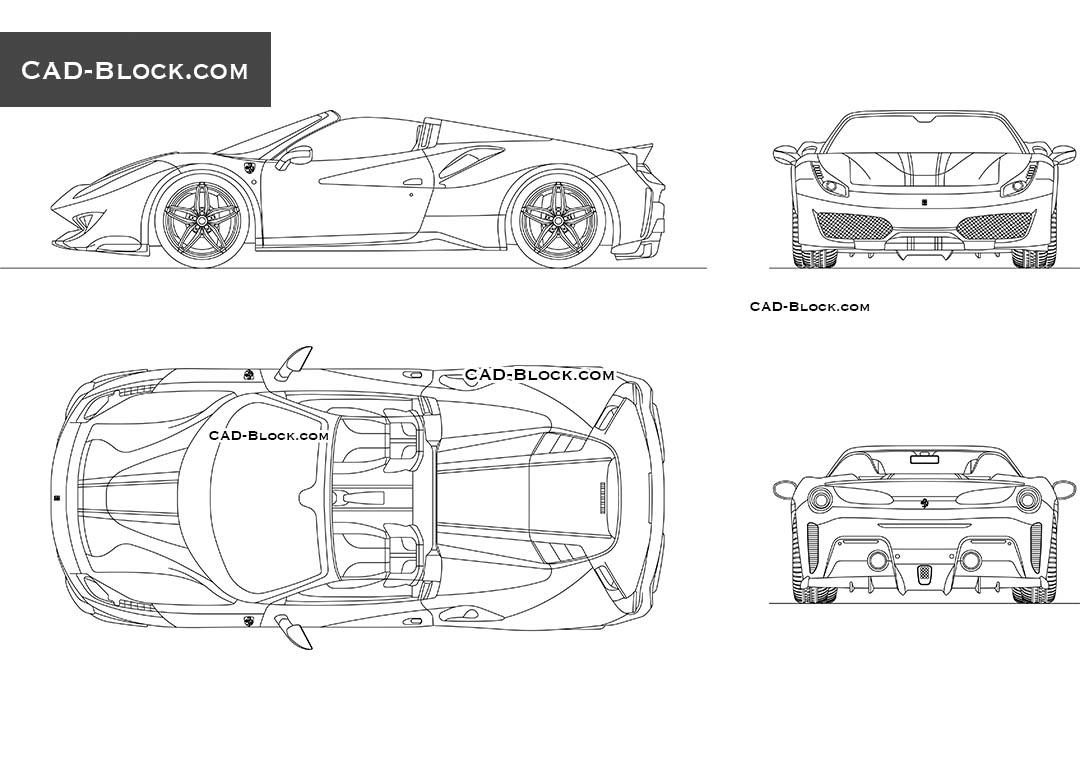 Ferrari 488 Pista Spider Cad Drawing Blueprints In Autocad