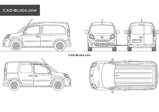 Renault Kangoo ZE - download free CAD Block