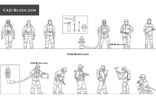 Firefighters - download free CAD Block