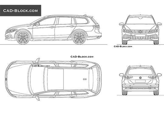 Volkswagen Passat Alltrack - download free CAD Block